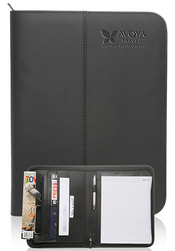 Zippered Black Leather Portfolios | PF60