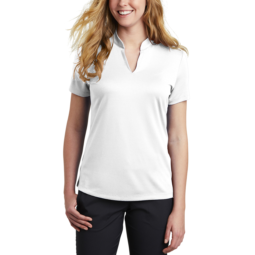 Custom Nike Ladies Dri Fit Hex Textured V Neck Top Shirts