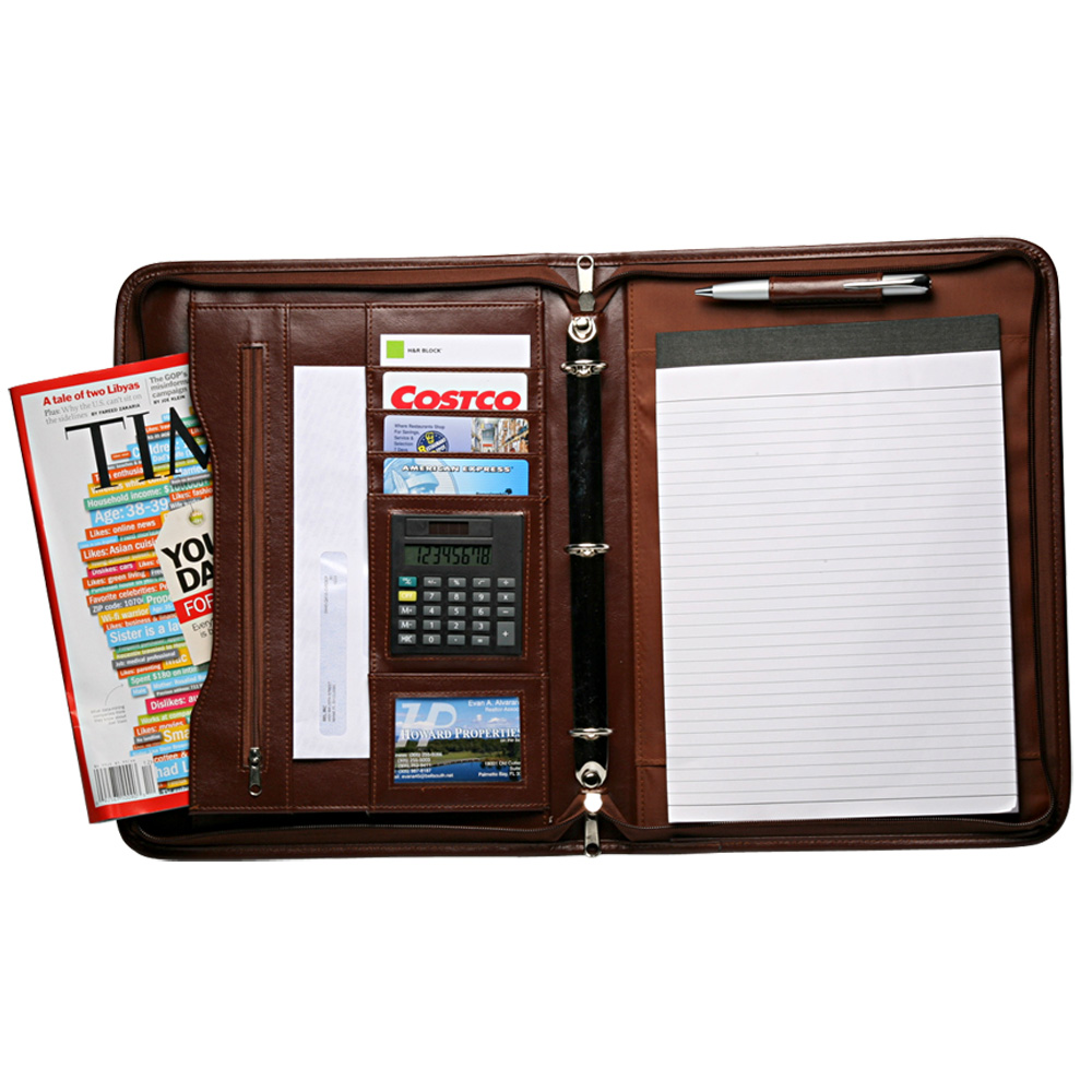 Personalized Brown Leather Binder Portfolios