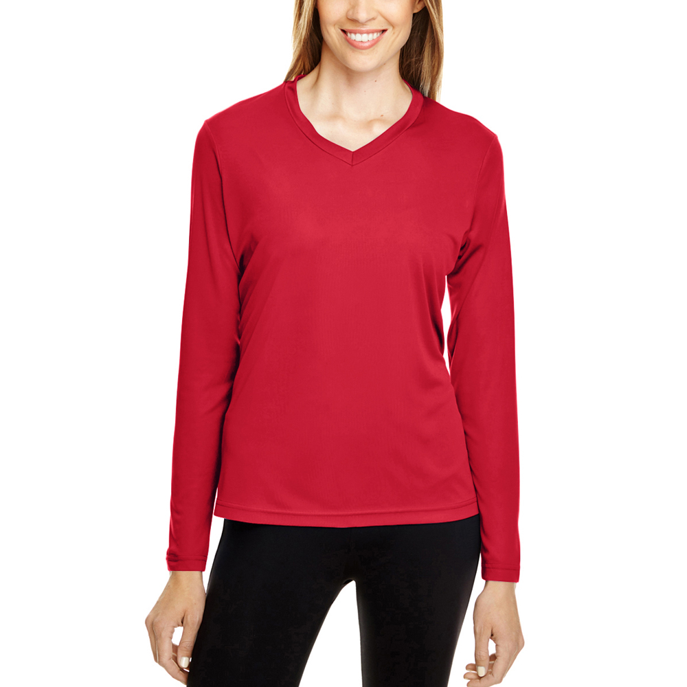 45bfd706 Printed Team 365 Ladies Zone Performance Long Sleeve Shirts |TT11L -  DiscountMugs