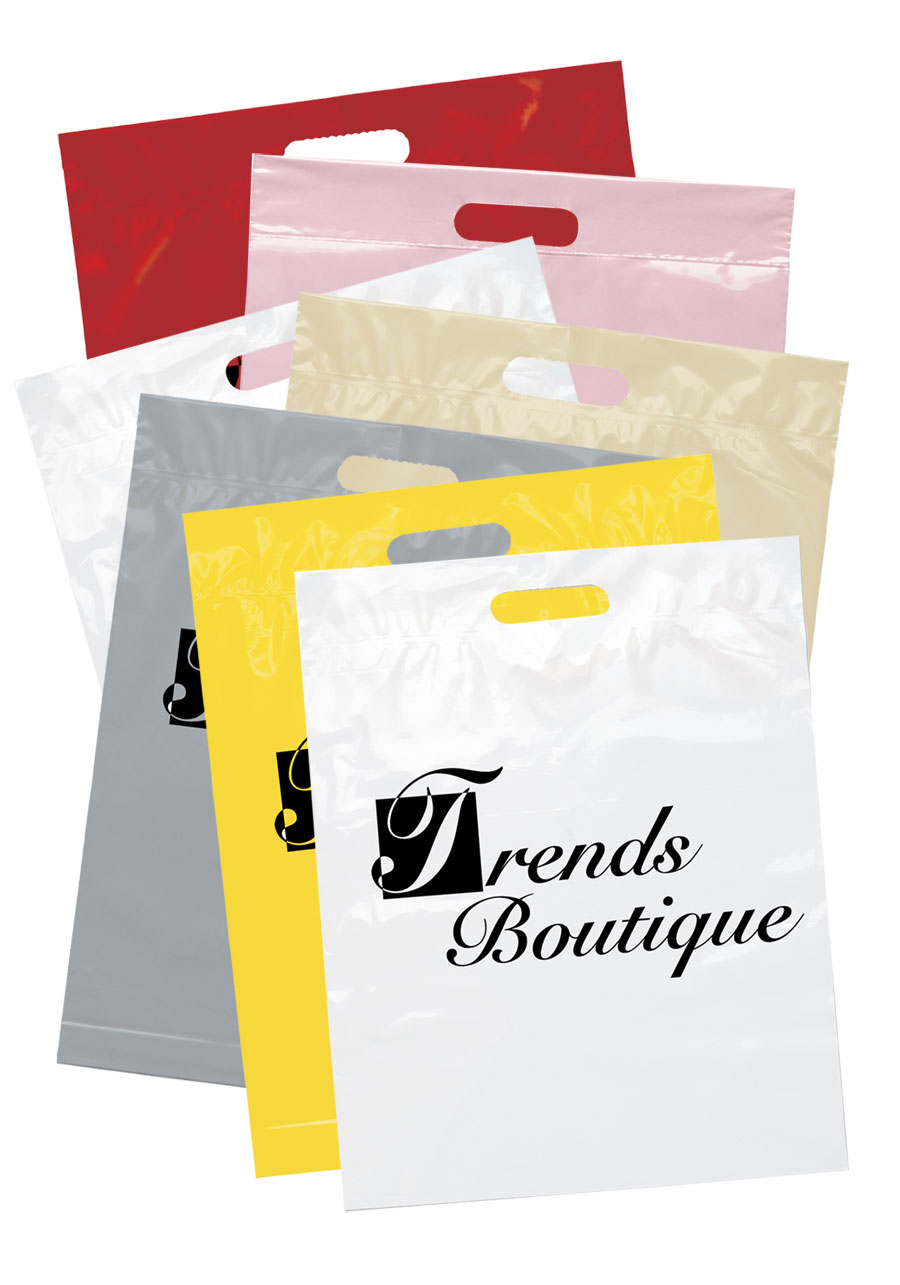 Custom recyclable die cut handle plastic bags bm19fs1519 for Custom plastic t shirt bags