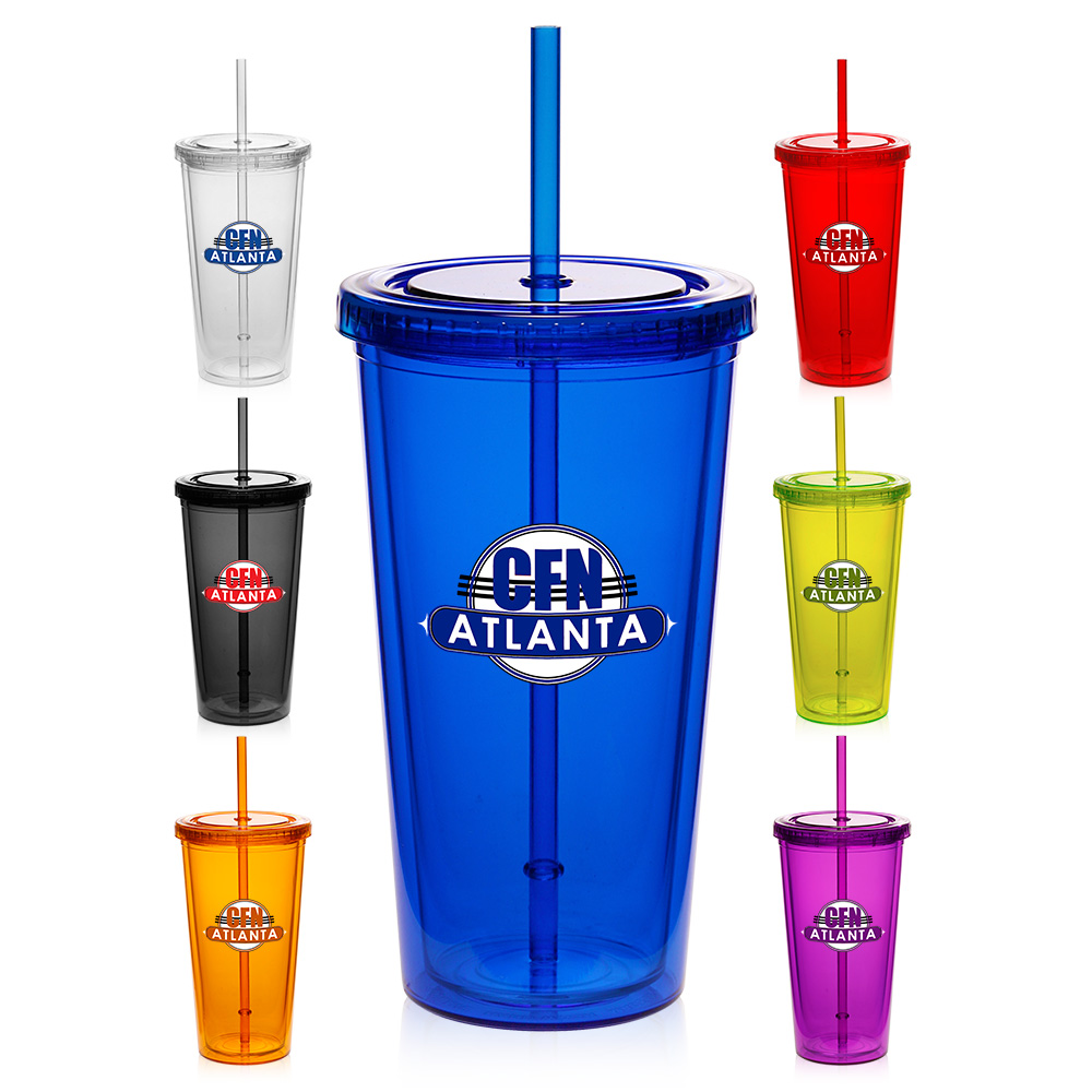 Custom 20 Oz Double Wall Acrylic Tumblers With Straws
