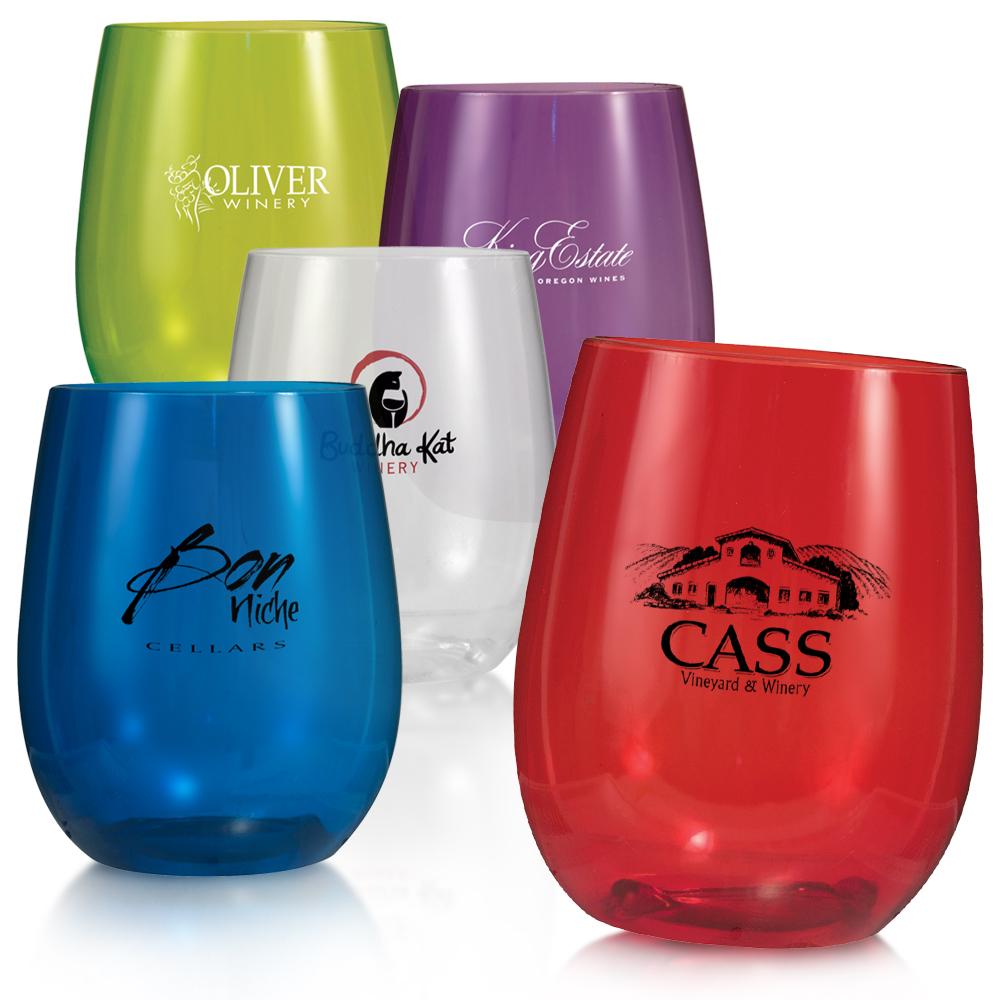 personalized 12 oz  hard plastic stemless wine glasses