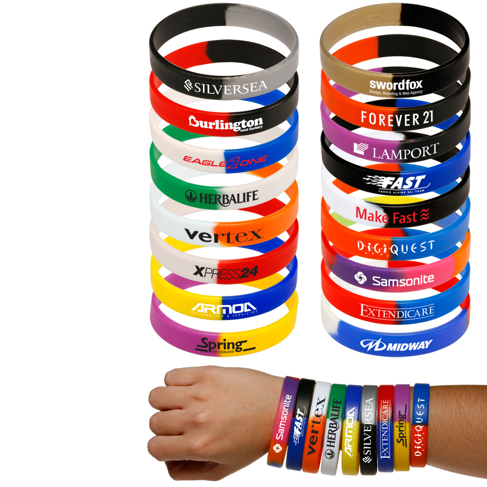 Segmented Silicone Wristbands Custom Wrist Bands Printed