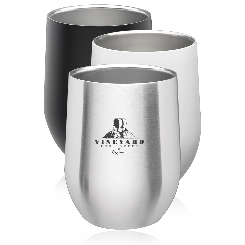 2159f8f7465 Personalized 11 oz. Stainless Steel Stemless Wine Glasses | ST41 ...