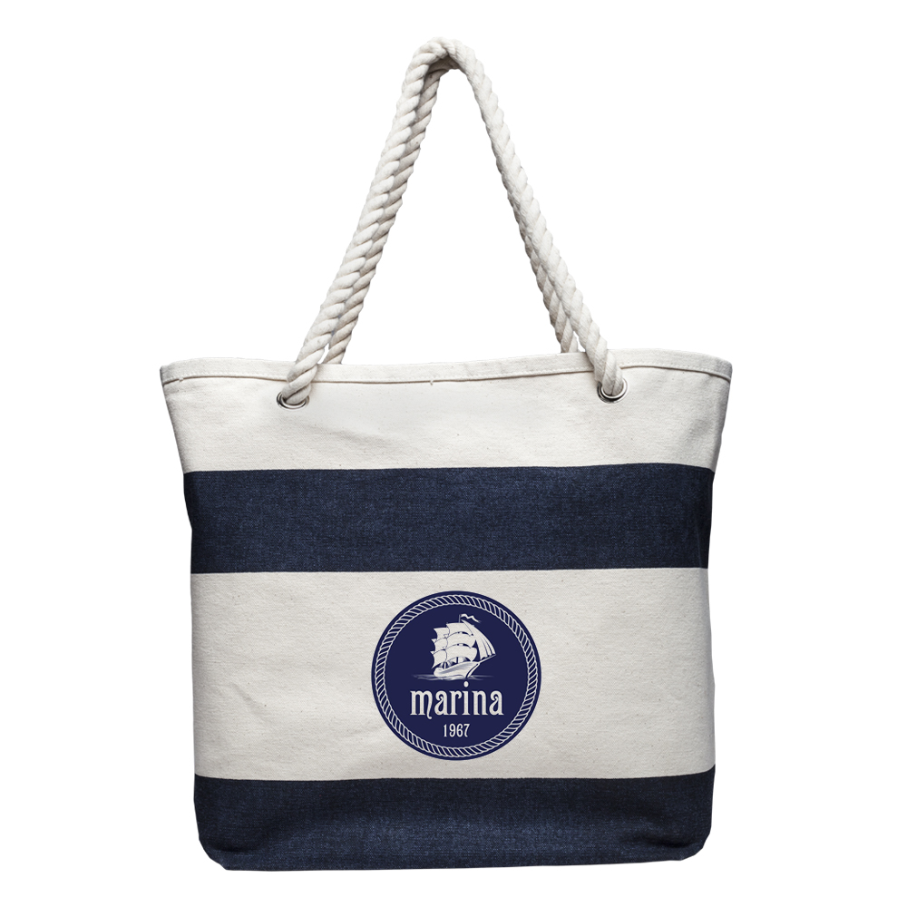 Striped Canvas Tote Bags with Logo   TOT3778 - Discount Mugs