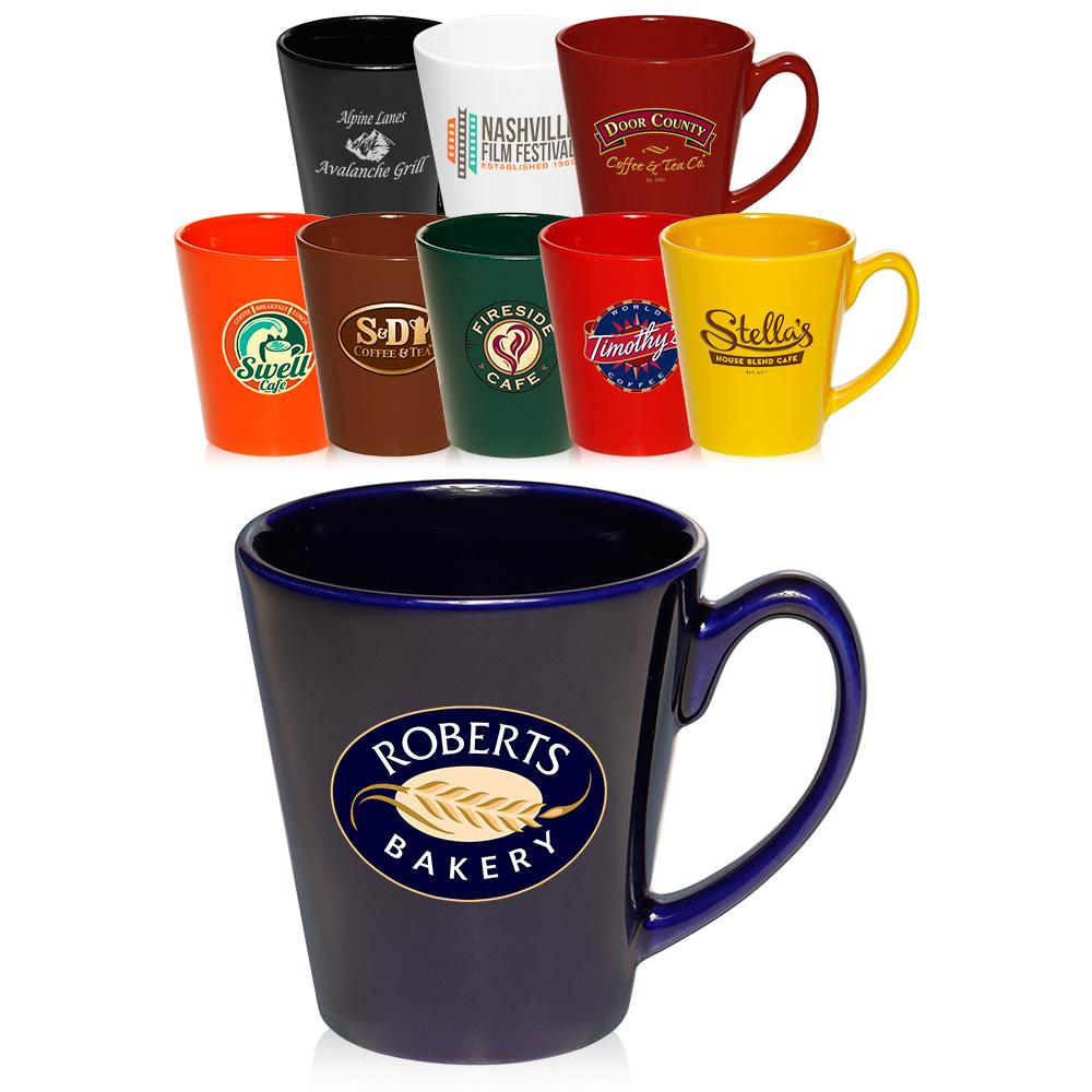 12 Oz Glossy Promotional Latte Coffee Mugs With Logo