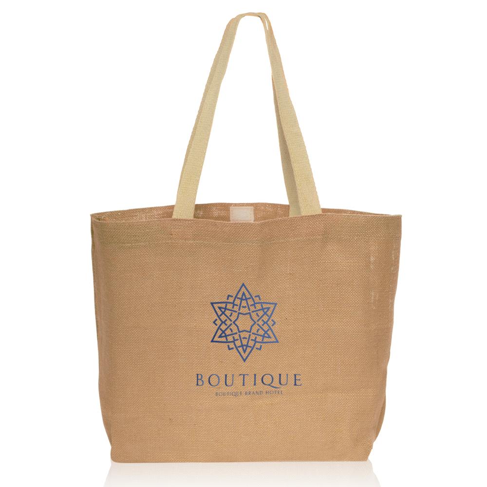 Custom Jute Tote Bags for Your Business   DiscountMugs 95aa1b37e4