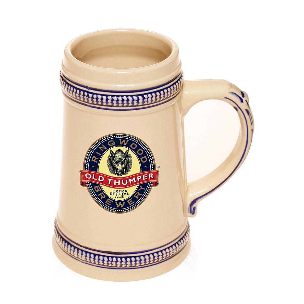 Custom #BM09 18.5 oz. Blue Deco Personalized Ceramic Beer Mugs