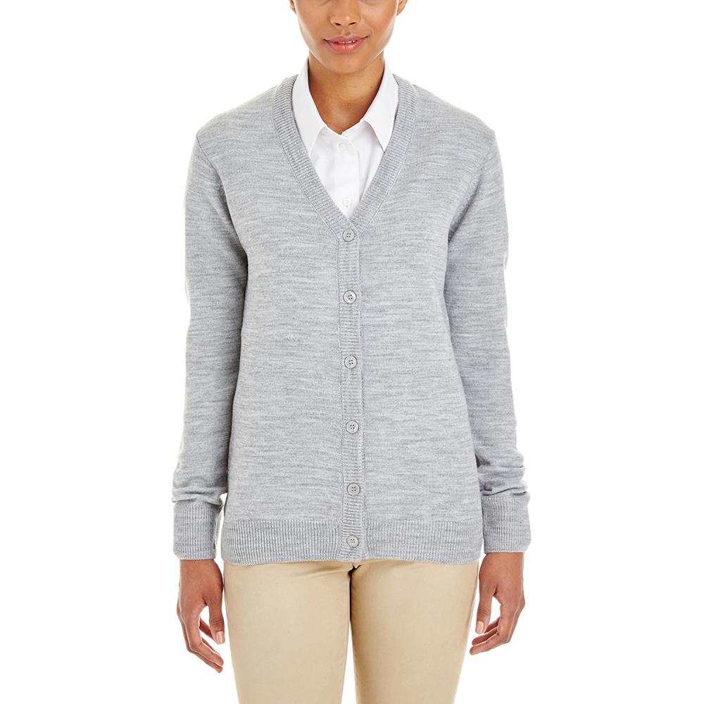 Customized Harriton Ladies Pilbloc V-Neck Cardigan Sweaters ...