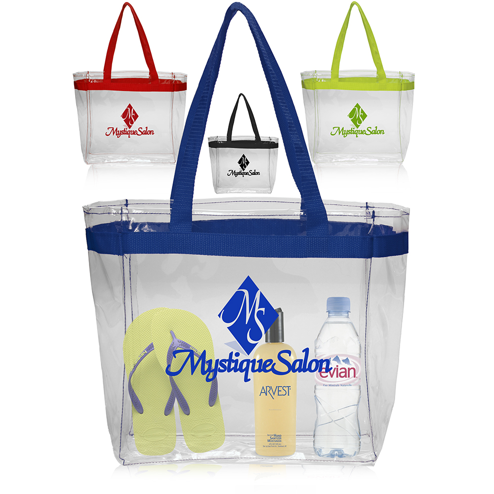 Personalized Color Handles Clear Plastic Tote Bags