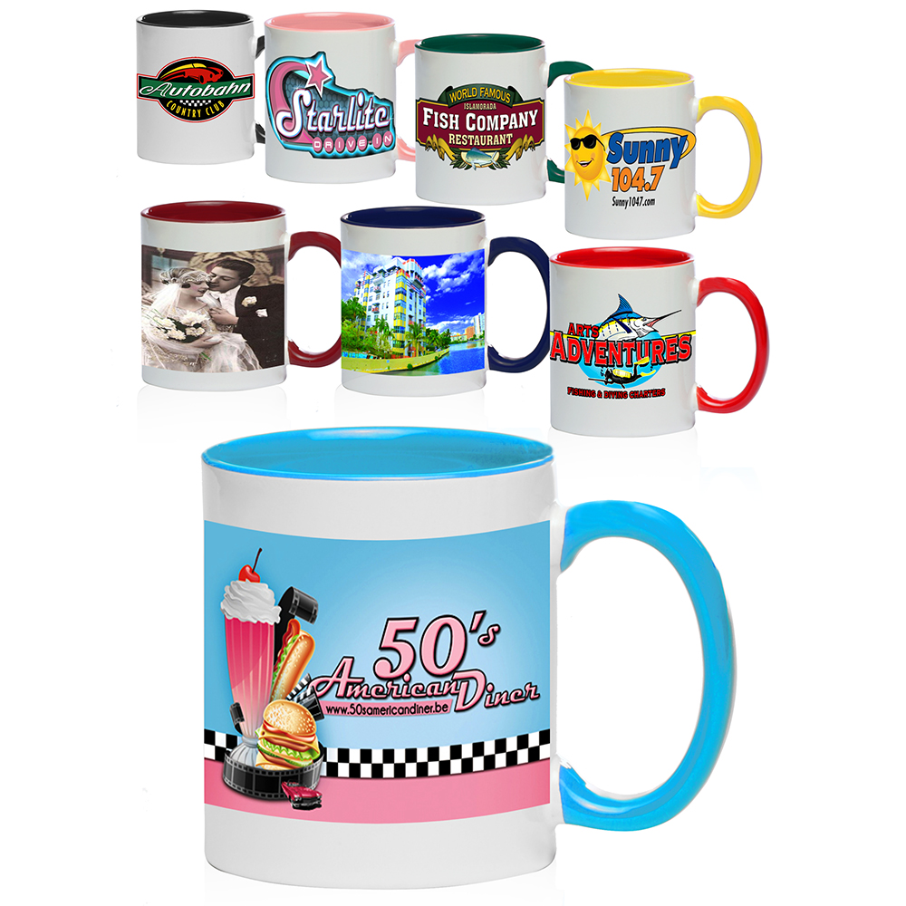 Custom 11 Oz Bright Two Tone Sublimation Mugs S12tt