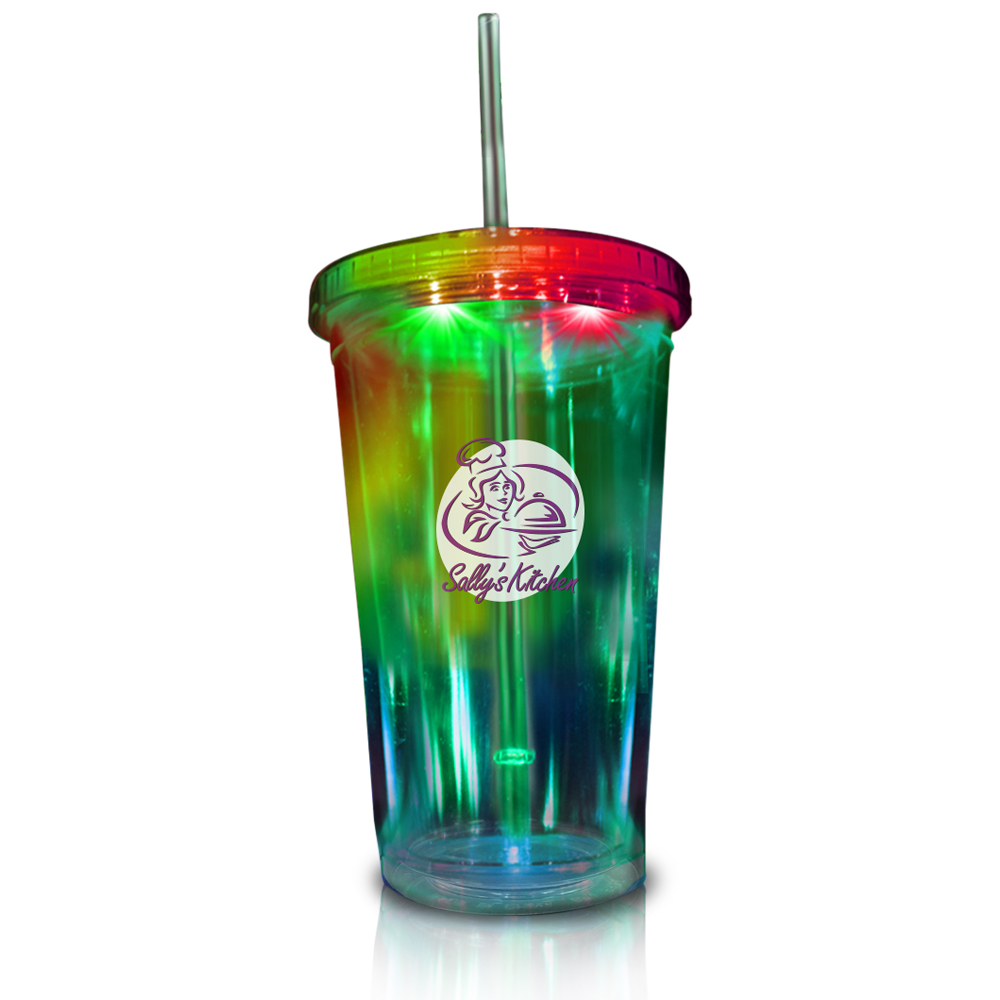 Custom Light Up Travel Cups With Clear Lid And Straw 16 Oz