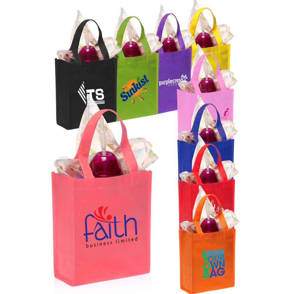 Custom non woven small gift bags tot discountmugs