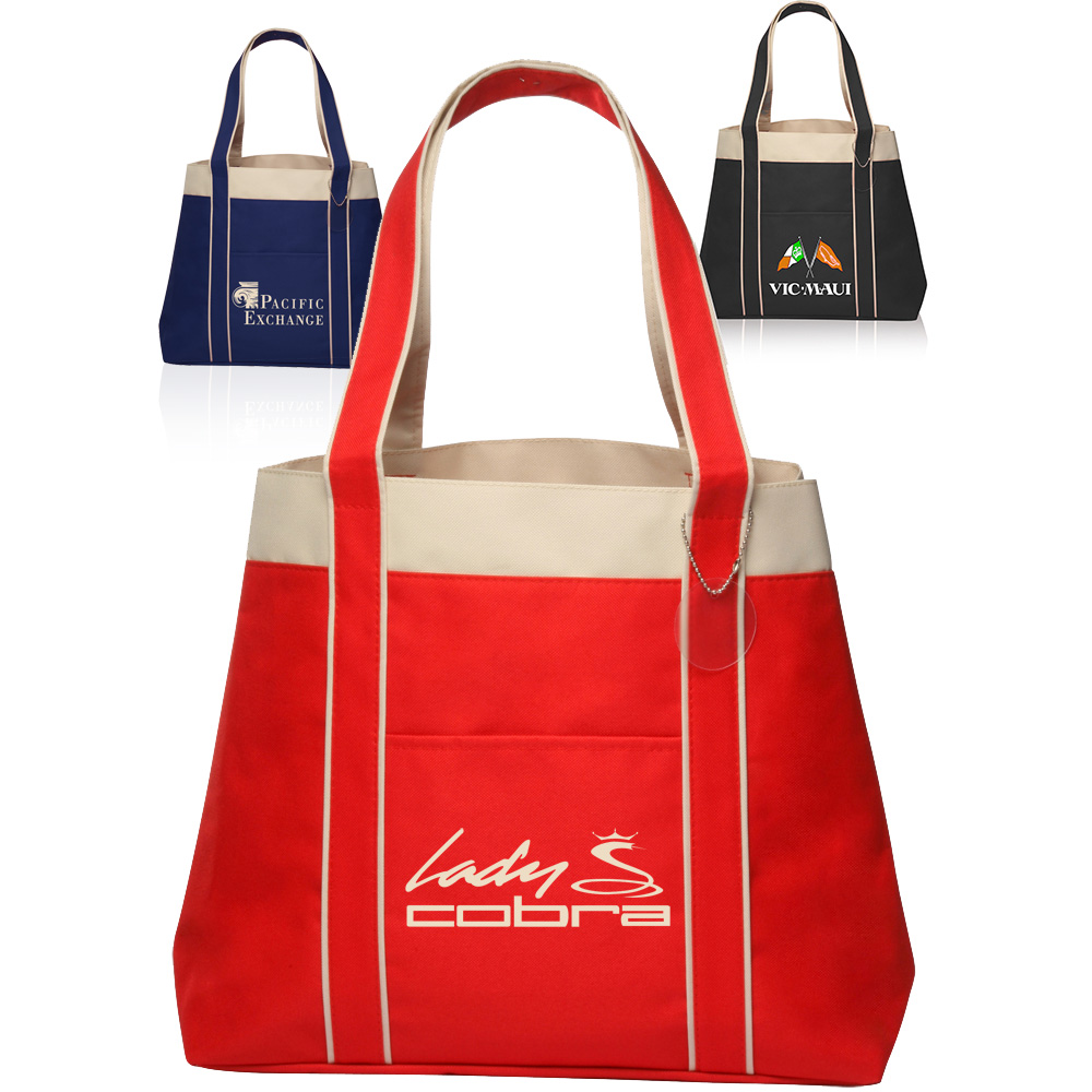 Tote bag in bulk - Custom 16w X 13h Inch Donna Polyester Tote Bags