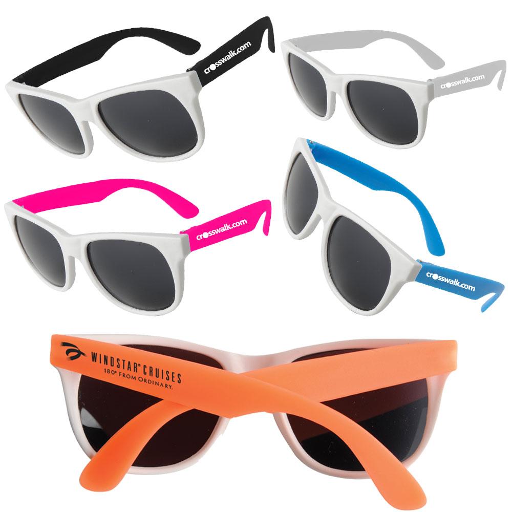 Custom White Framed Neon Sunglasses Em900w Discountmugs