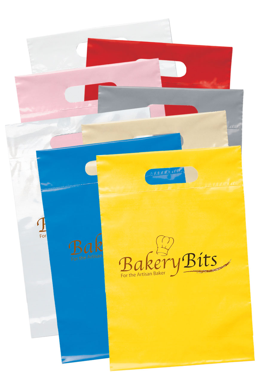 Personalized Recyclable Cut Handle Plastic Bags