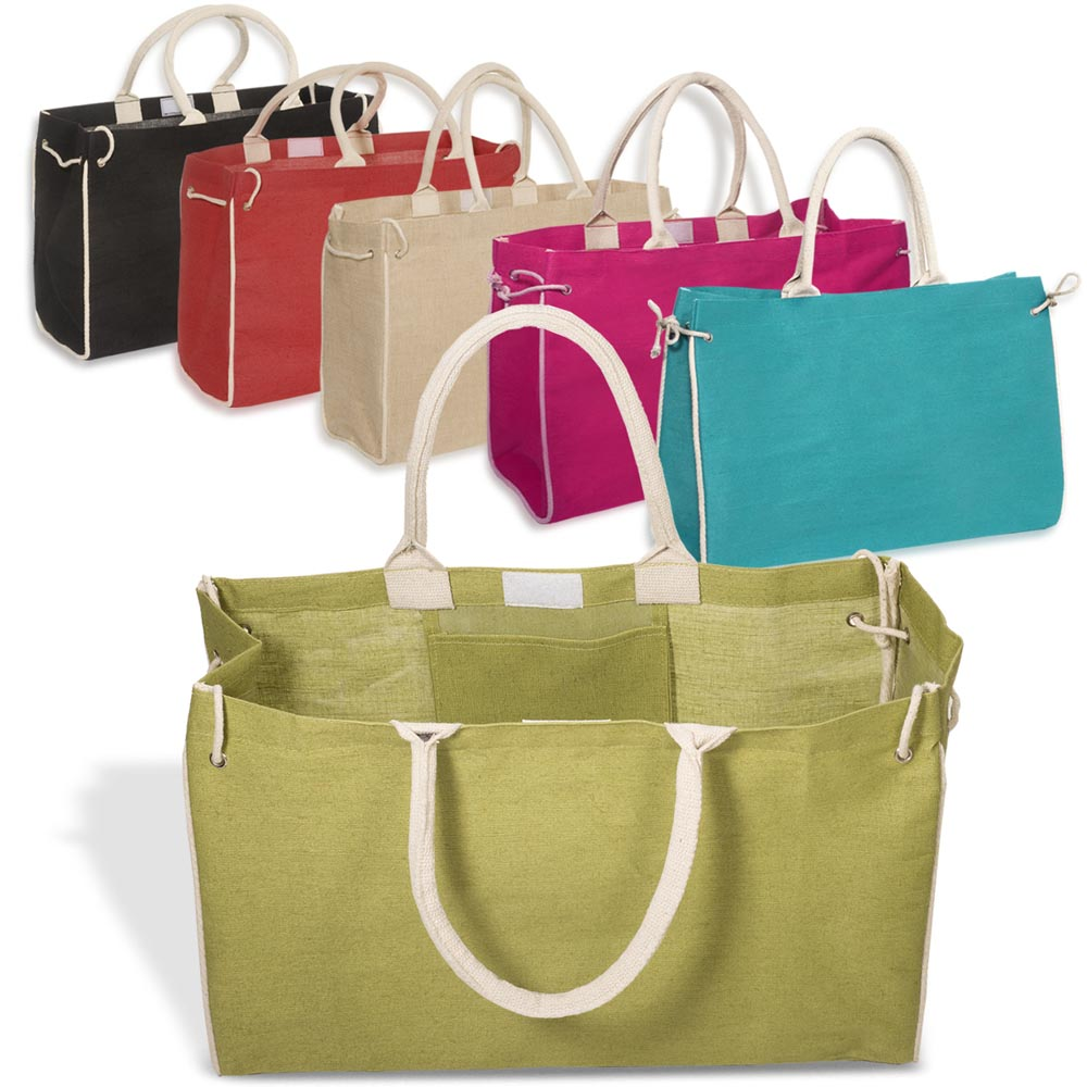Personalized 18W x 11.5H inch Bermuda Jute Tote Bags | PLLT4108 ...
