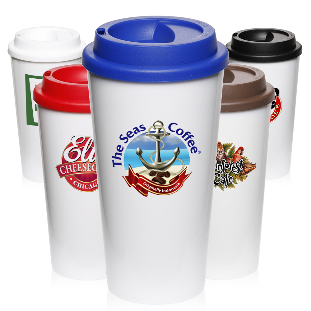Custom Travel Mugs Personalized with Logo from $1.99 | DiscountMugs