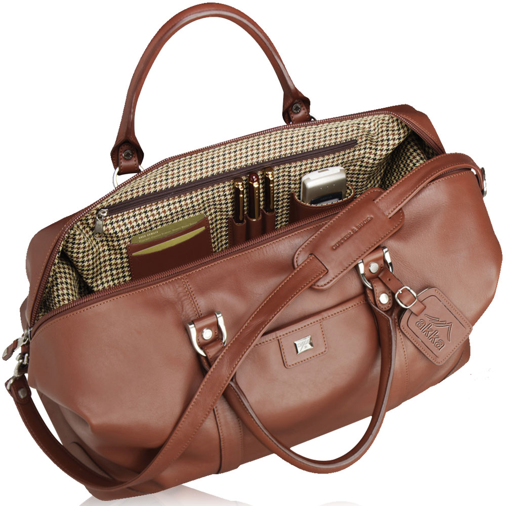 Personalized Cutter Amp Buck Leather Weekender Duffle Bags
