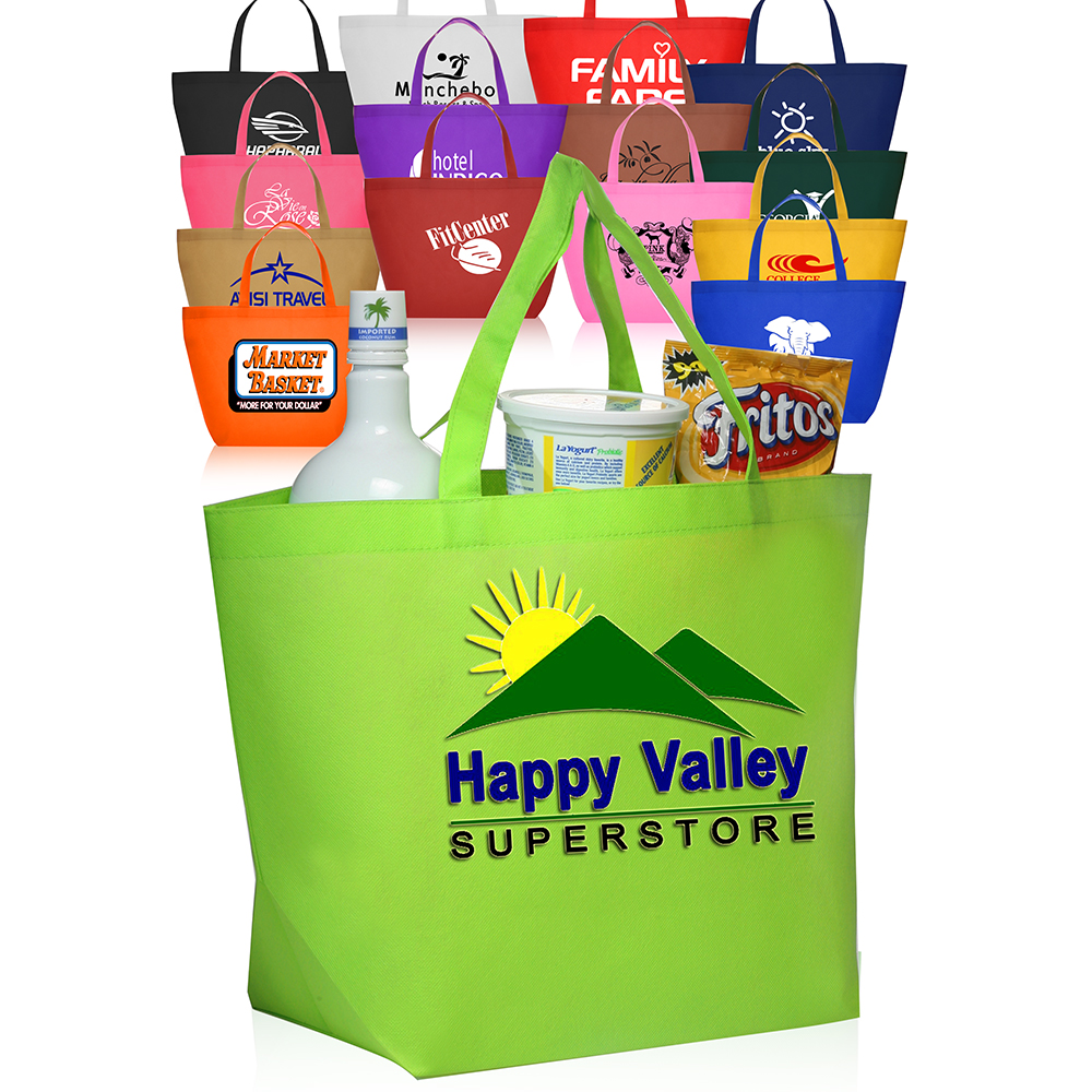 Custom Budget Non-Woven Shopper Tote Bags | TOT90 - DiscountMugs