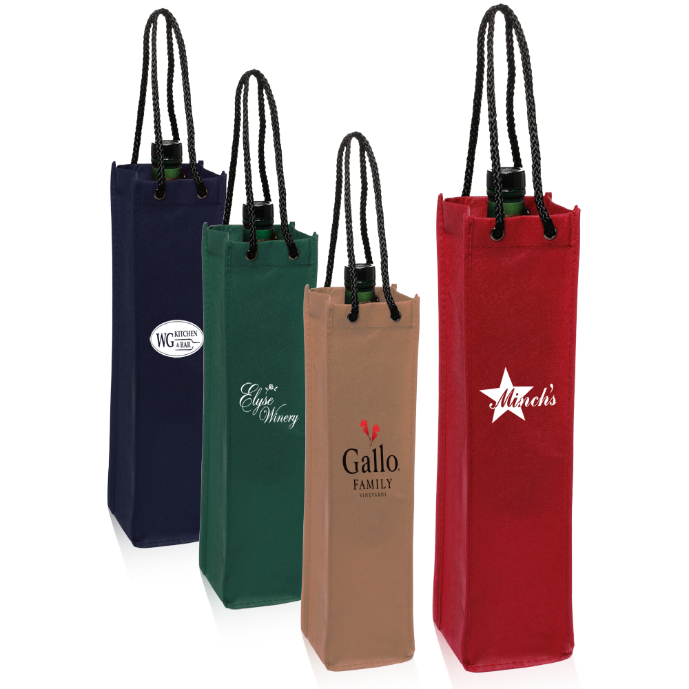 Personalized Non Woven Single Wine Bottle Bags Tot117