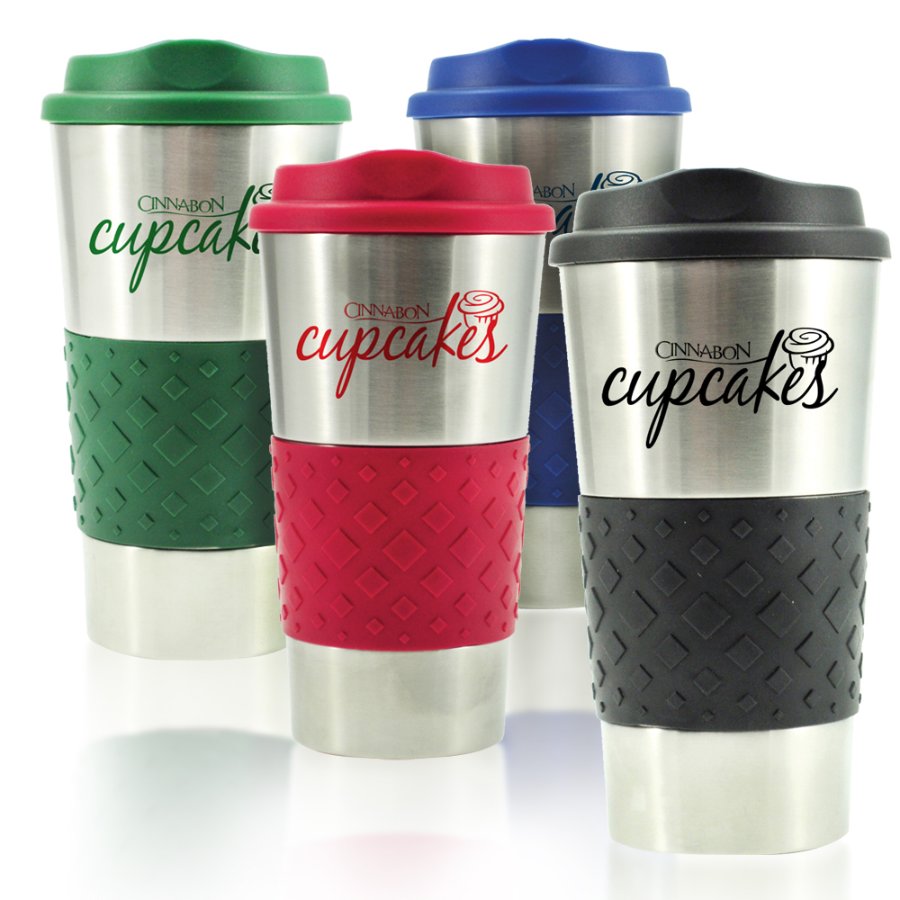 Cheap Personalized 16oz Grip N Go Stainless Tumblers