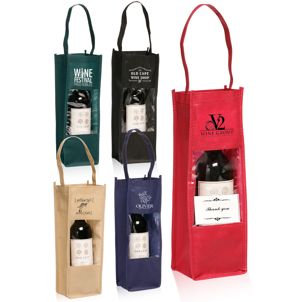 personalized non-woven wine bottle carrier gift bags