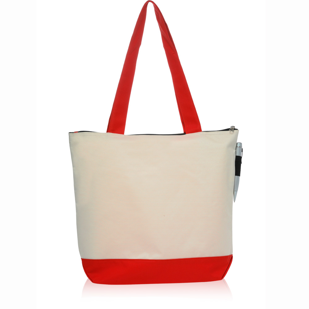 Custom Zipper Polyester Tote Bags | TOT92 - DiscountMugs