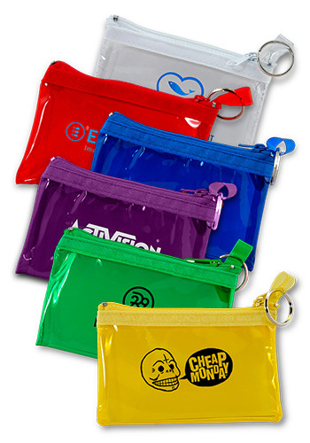 personalized id and coin pouches with key rings