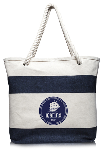17.5 W x 13 H Striped Canvas Tote Bags | ATOT3778