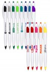 Derby Ballpoint Pens The bodies of these custom pens feature a clean white curvy design that is balanced and easy to hold onto. Colorful accents at the tip and clip match the imprint color or provide an appealing contrast. Minimum Order Quantity of 12.