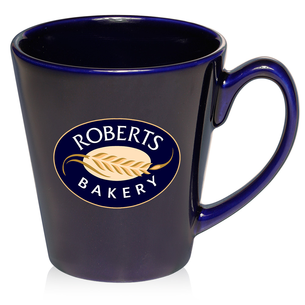 custom  oz glossy ceramic latte coffee mugs    discountmugs - blue · red
