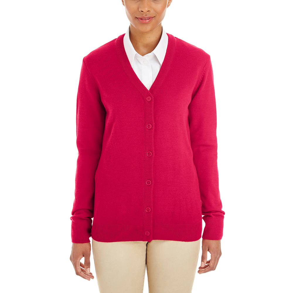 Customized Harriton Ladies Pilbloc V-Neck Cardigan Sweaters ...