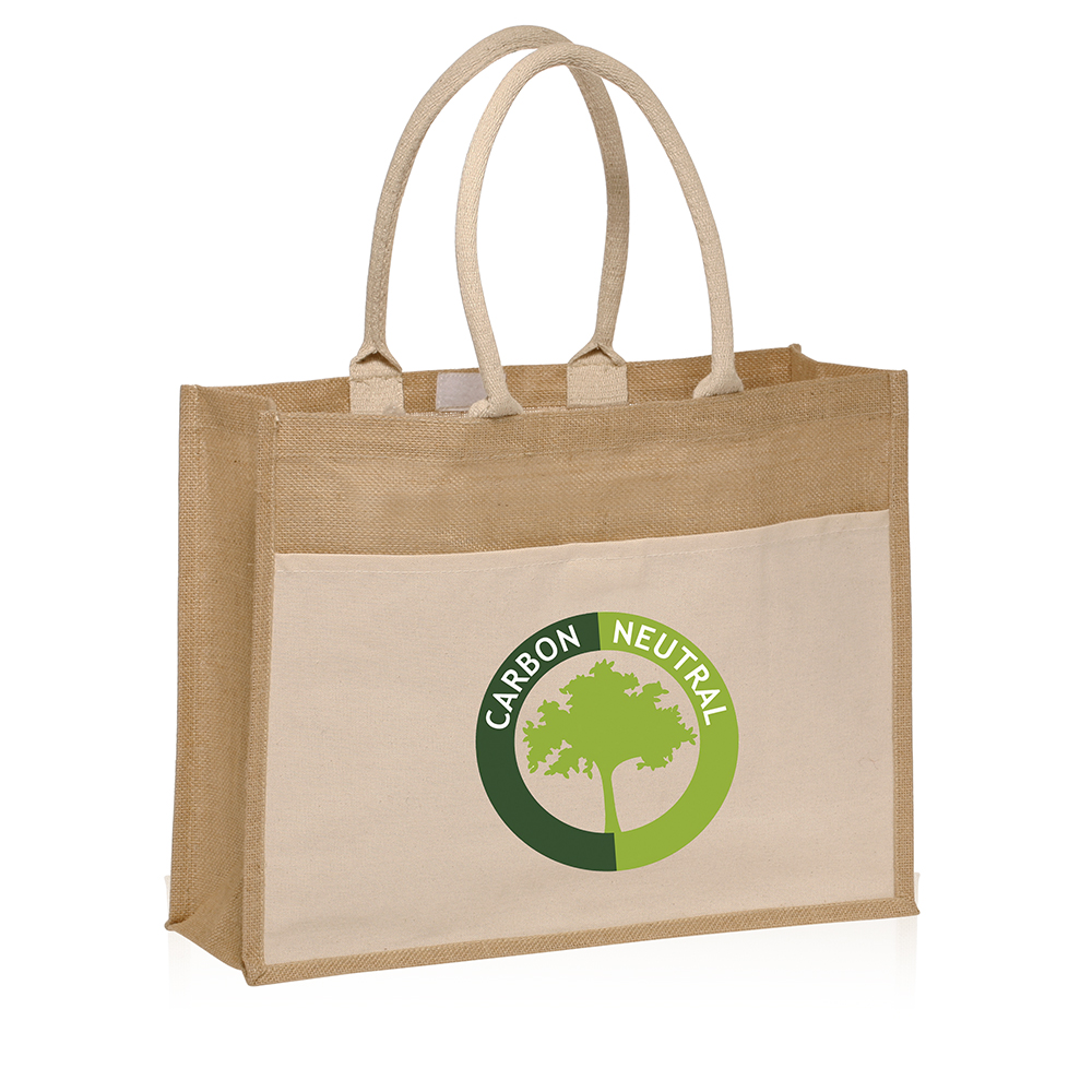 promotional canvas pocket jute tote bags tot3769 discountmugs