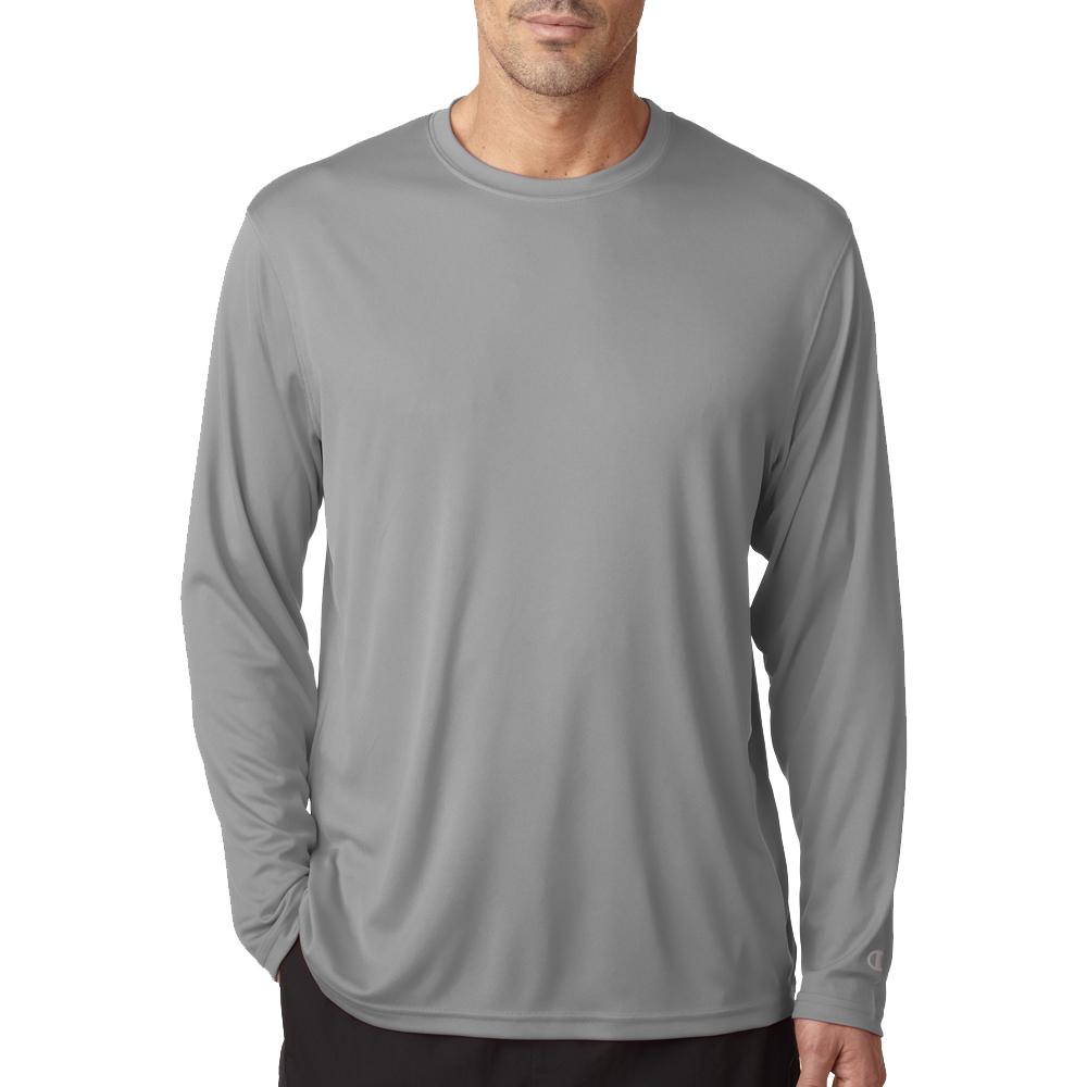 b5ed07501f7d Printed Champion Adult Double Dry Long-Sleeve Interlock T-Shirts   CW26 -  DiscountMugs