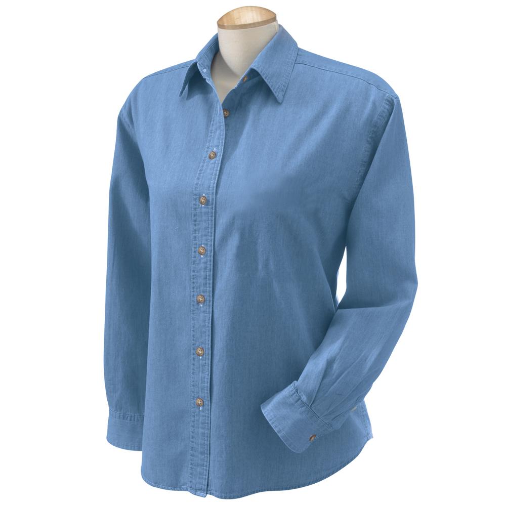 Promotional wholesale harriton ladies 39 long sleeve denim for Ladies light denim shirt