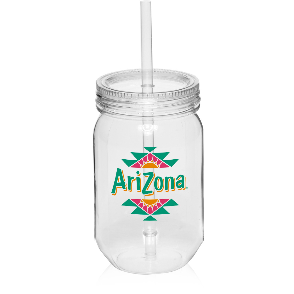 Logo pg131 24 oz plastic custom mason jars with straw for Custom cosmetic jars