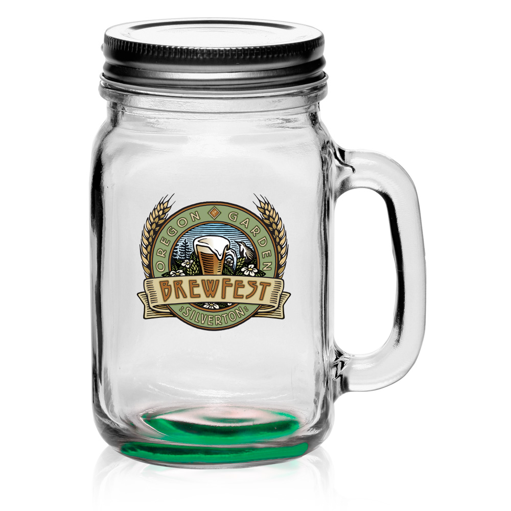 personalized 16 oz libbey handle mason jars with lids 97084l