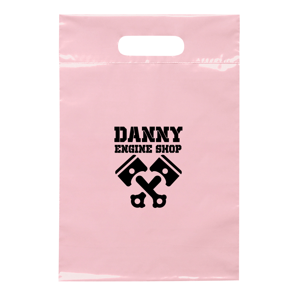 Custom Recyclable Die Cut Handle Plastic Bags | BM19FS914 - DiscountMugs