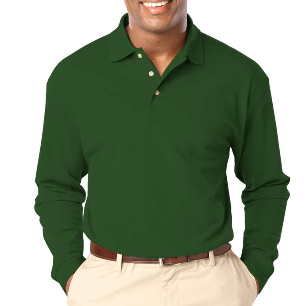 3c33895d8801f Embroidered Mens Pocketless Long Sleeve Polo Shirts | BGEN7207 -  DiscountMugs