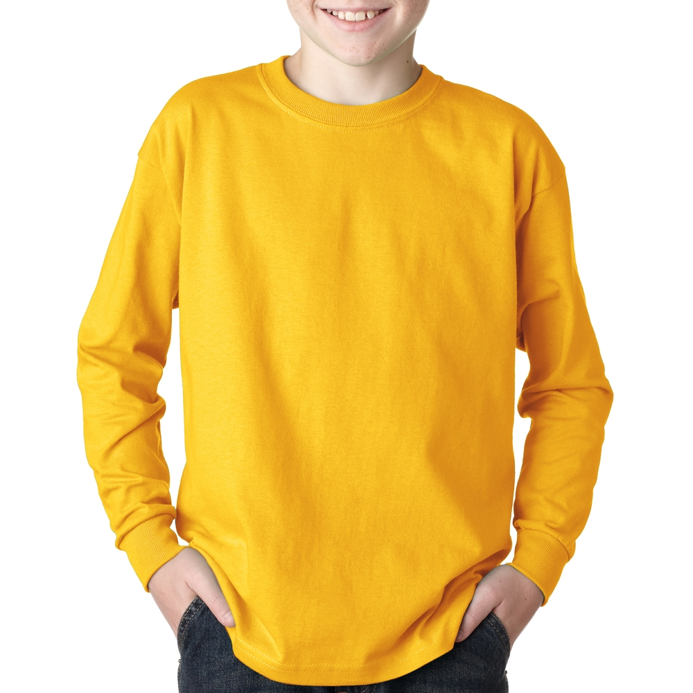 Printed Gildan Cotton Youth Long Sleeve T-shirts   G2400B ...