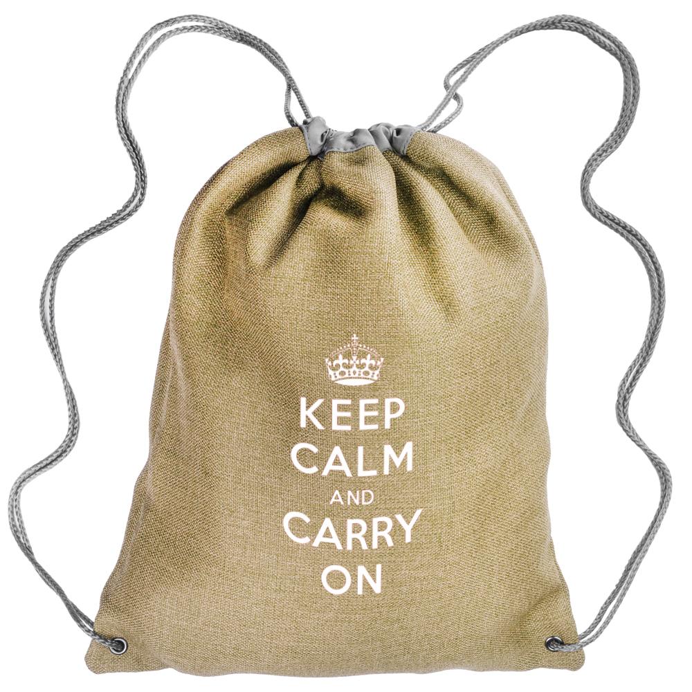 Custom Printed Linen Drawstring Backpacks | BPK69 - DiscountMugs