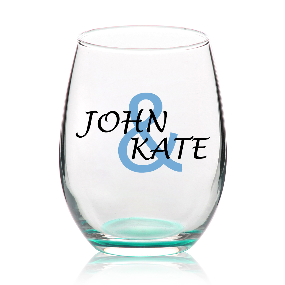 Wedding Personalized Stemless Wine Glasses custom stemless wine glasses personalized green pink
