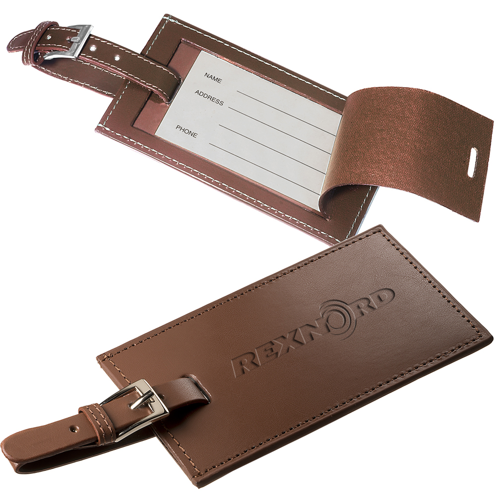 Personalized Rectangle Leather Luggage Tags   PLLG9096 - DiscountMugs