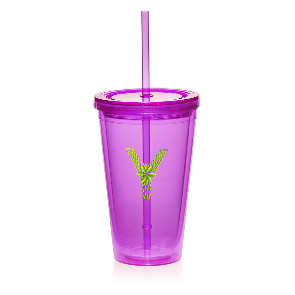 personalized 16oz double wall acrylic tumblers with straw pg161