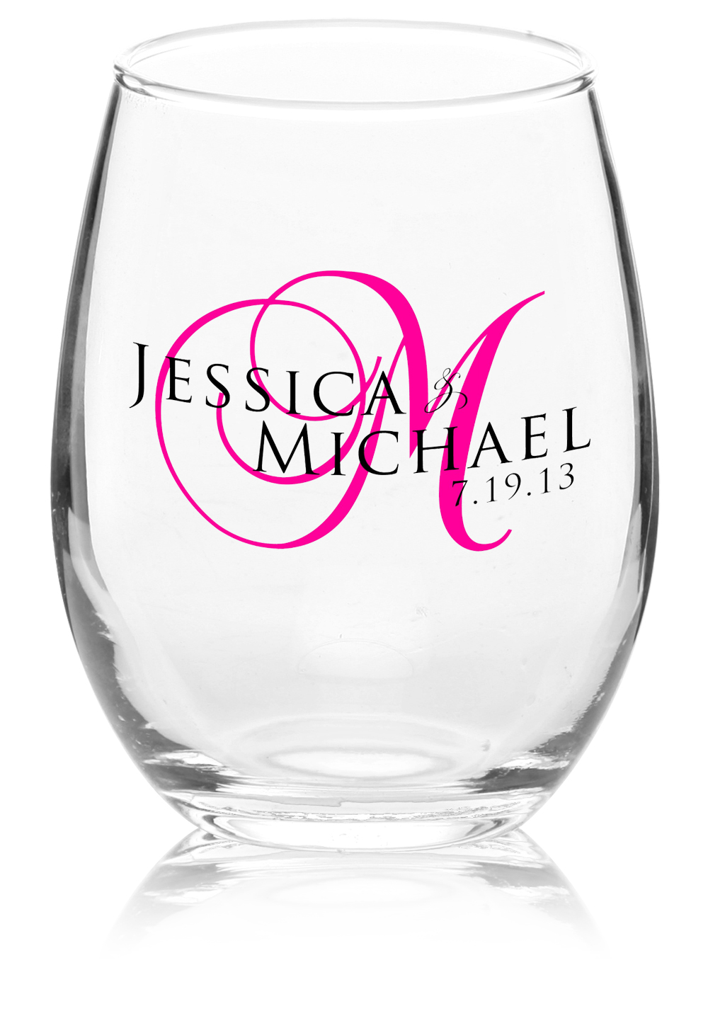 Wedding Personalized Stemless Wine Glasses custom stemless wine glasses personalized clear purple