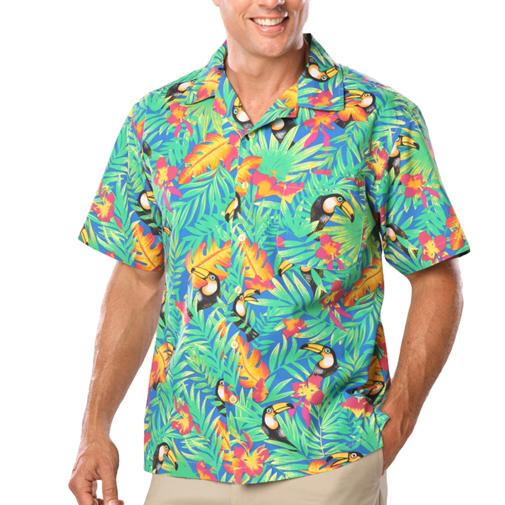 c26c475728 Blue Generation Adult Toucan Print Camp Shirts | BGEN3101