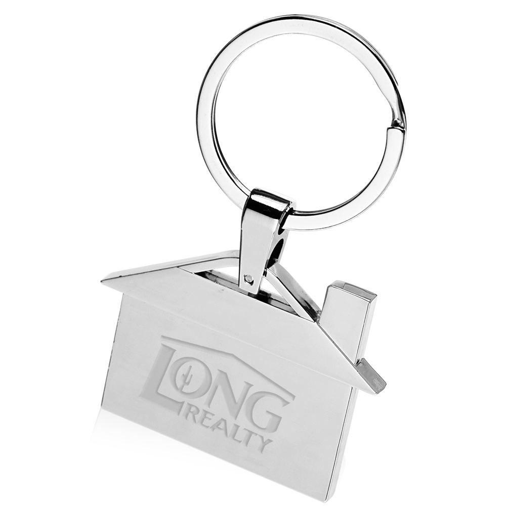 Personalized House Shaped Metal Keychains | KEY129 - DiscountMugs