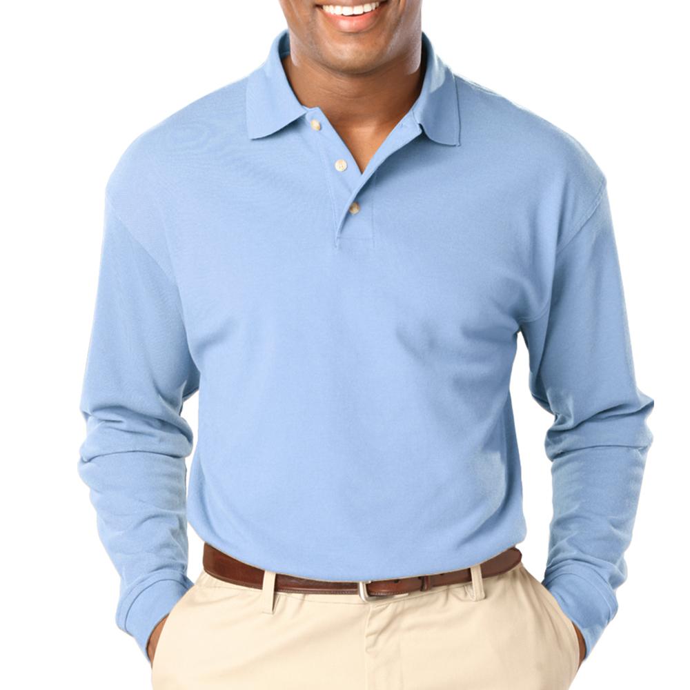 e61b413077988 Embroidered Mens Pocketless Long Sleeve Polo Shirts